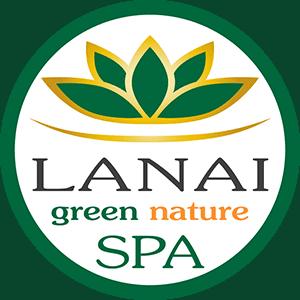Logo goldene Blüte im grünen Kreis mit Schriftzug LANAI green nature SPA