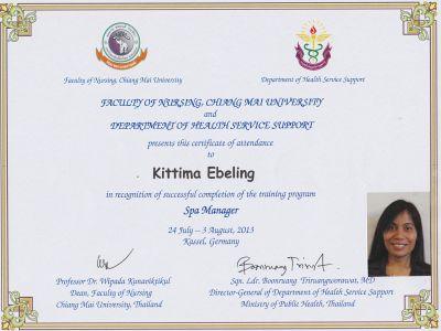 Zertifikat Spa Manager Kittima Ebeling