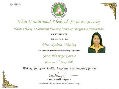 Zertifikat Sport Massage Kittima Ebeling Gründerin