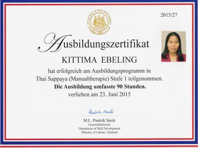 Thai Sappaya Zertifikat Kittima Ebeling