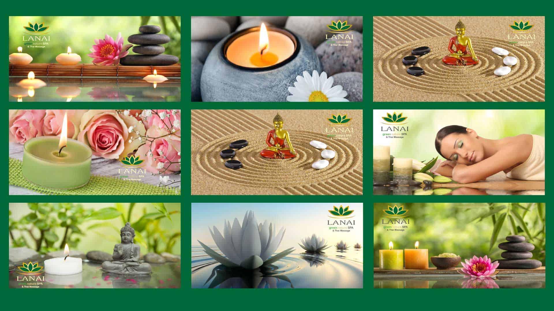 Alle Gutschein Motive die im LANAI green nature Spa bei persönlicher Abholung zur Auswahl stehen.