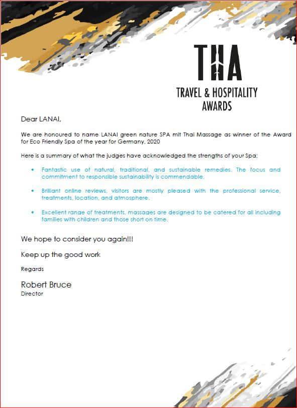 AWARD 2019 Urkunde von Travel Hospitality Awards für die Kategorie green SPA