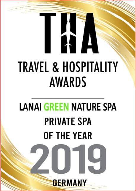 Auszeichnung Urkunde von Travel Hospitality Awards für private Thai Spa im LANAI Spa