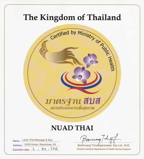 Urkunde des AWARD Nuad Thai Spa der thailändischen Regierung für Qualität