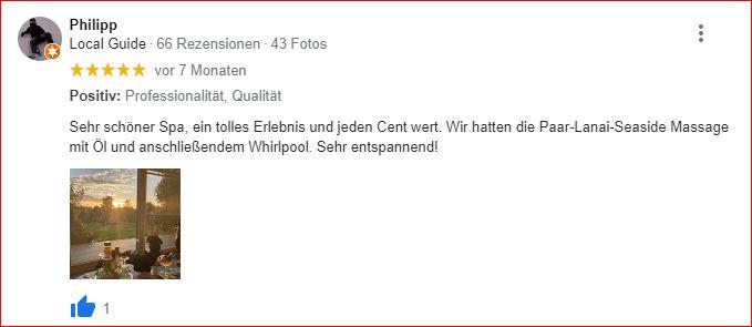 Google Bewertungen Lanai Spa von Philipp