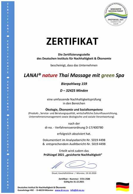 Zertifikat für Nachhaltigkeit 2021 Lanai SPA