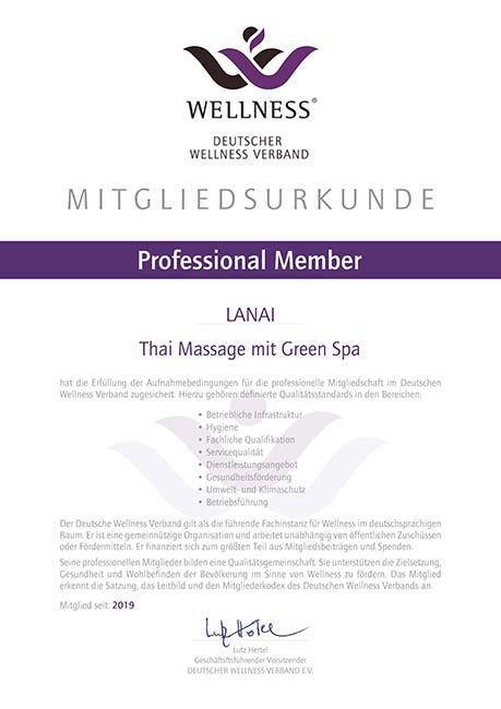 Urkunde Professional Member vom Deutschen Wellness Verband