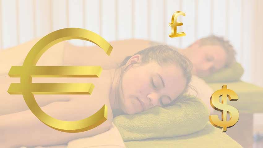 EURO Zeichen für Preis und Preisliste für Massage, Spa und Wellness